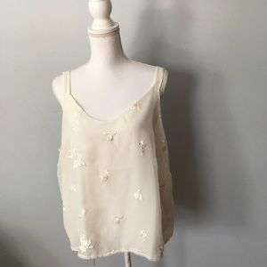 FIRM Coldwater Creek Cream  Embroidered Camisole